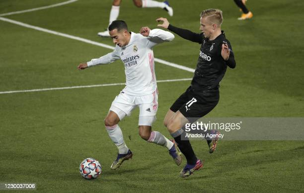 Lucas Vazquez of Real Madrid in acition against Oscar Wendt of Borussia Monchengladbach during UEFA Champions League Group B soccer match between...