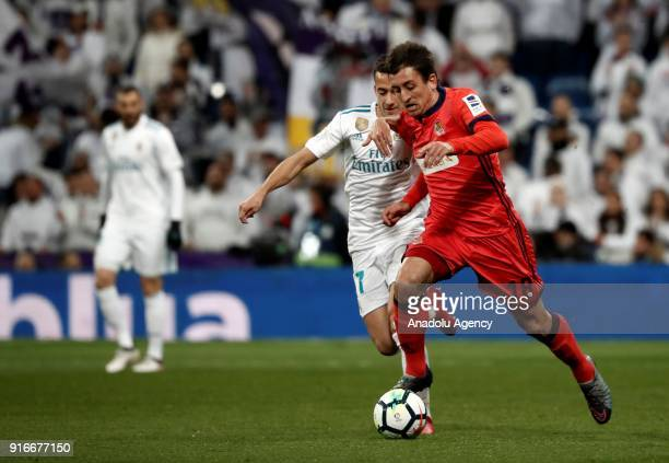 Lucas Vazquez of Real Madrid in action against Mikel Oyarzabal of Real Sociedad during the La Liga match between Real Madrid and Real Sociedad at the...