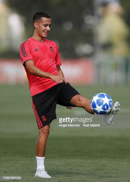 Lucas Vazquez of Real Madrid in action during a training session at Valdebebas training ground on September 18 2018 in Madrid Spain