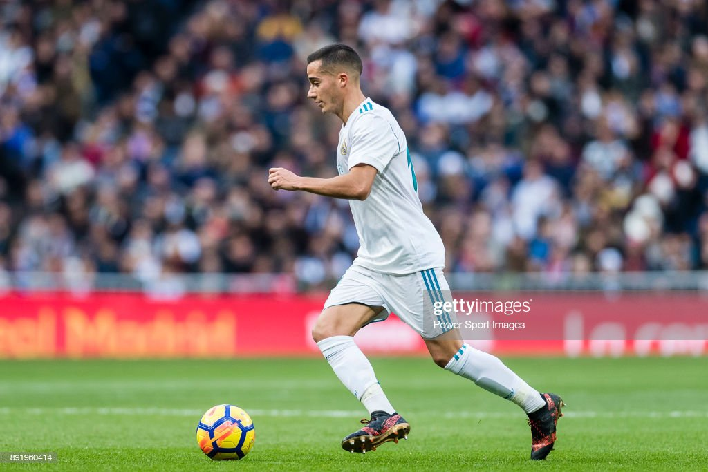 Lucas Vazquez of Real Madrid in action during the La Liga 2017-18 match between Real Madrid and Sevilla FC at Santiago Bernabeu Stadium on 09 December 2017 in Madrid, Spain.