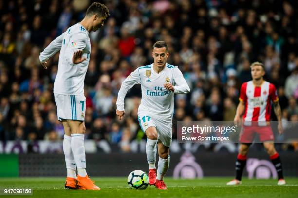 Lucas Vazquez of Real Madrid in action during the La Liga 201718 match between Real Madrid and Girona FC at Estadio Santiago Bernabéu on March 18...