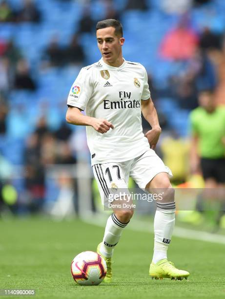 Lucas Vazquez of Real Madrid in action during the La Liga match between Real Madrid CF and SD Eibar at Estadio Santiago Bernabeu on April 06, 2019 in...