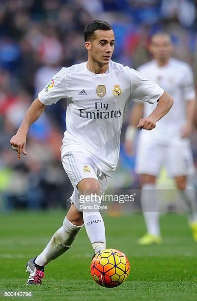 Lucas Vazquez of Real Madrid in action during the La Liga match between Real Madrid CF and Getafe CF at Estadio Santiago Bernabeu on December 5 2015...
