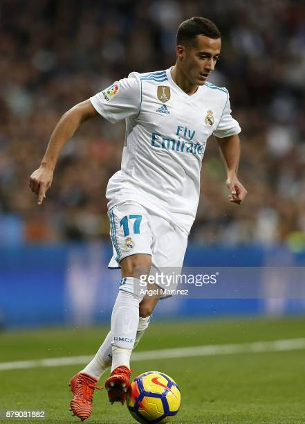 Lucas Vazquez of Real Madrid in action during the La Liga match between Real Madrid and Malaga at Estadio Santiago Bernabeu on November 25 2017 in...