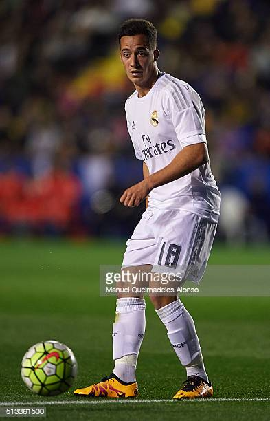 Lucas Vazquez of Real Madrid in action during the La Liga match between Levante UD and Real Madrid at Ciutat de Valencia on March 02 2016 in Valencia...