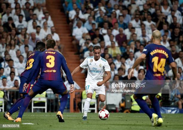 Lucas Vazquez of Real Madrid in action during the Spanish Super Cup return match between Real Madrid and Barcelona at Santiago Bernabeu Stadium in...