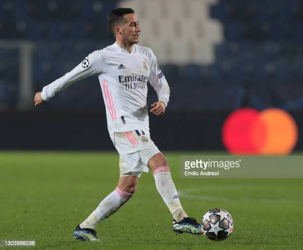Lucas Vazquez of Real Madrid in action during the UEFA Champions League Round of 16 match between Atalanta and Real Madrid at Gewiss Stadium on...