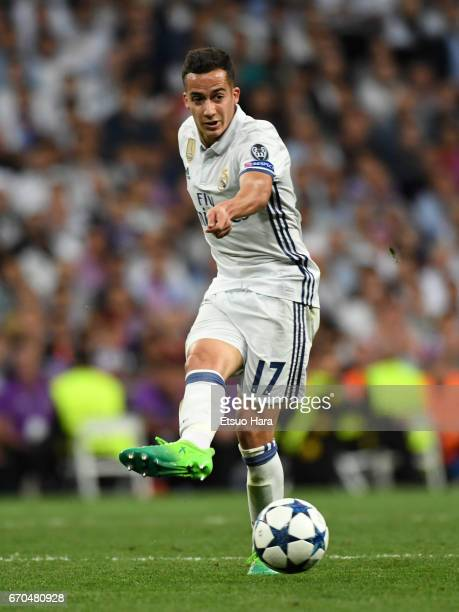 Lucas Vazquez of Real Madrid in action during the UEFA Champions League Quarter Final second leg match between Real Madrid CF and FC Bayern Muenchen...