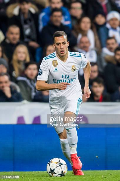 Lucas Vazquez of Real Madrid in action during the UEFA Champions League 201718 Round of 16 match between Real Madrid vs Paris Saint Germain at...