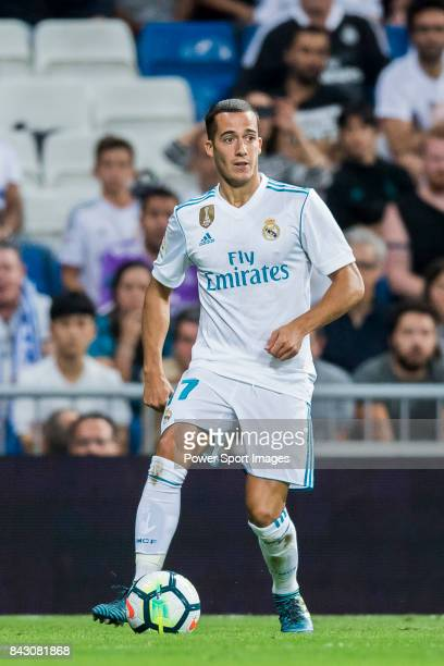 Lucas Vazquez of Real Madrid in action during their La Liga 201718 match between Real Madrid and Valencia CF at the Estadio Santiago Bernabeu on 27...