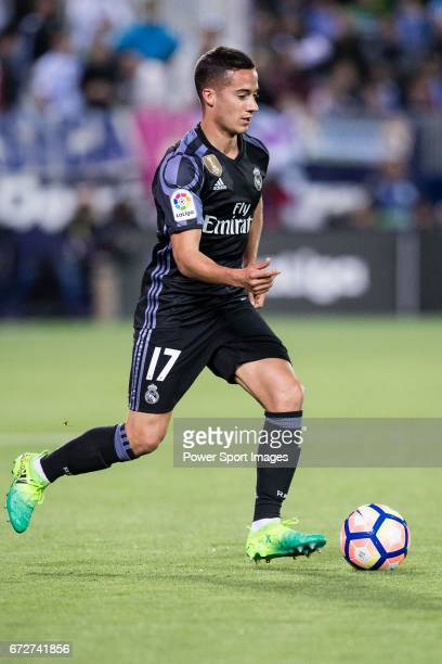Lucas Vazquez of Real Madrid in action during their La Liga match between Deportivo Leganes and Real Madrid at the Estadio Municipal Butarque on 05...