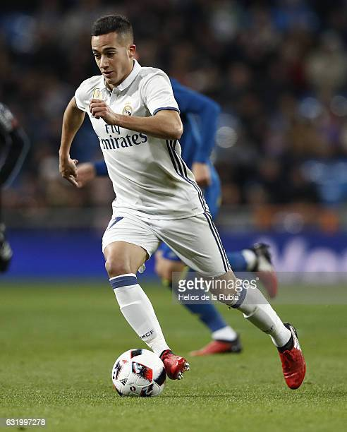 Lucas Vazquez of Real Madrid in actions during the Copa del Rey quarterfinal first leg match between Real Madrid CF and Celta de Vigo at Estadio...