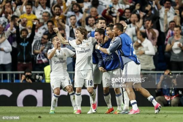 Lucas Vazquez of Real Madrid Luka Modric of Real Madrid Alvaro Morata of Real Madrid Mateo Kovacic of Real Madrid Cristiano Ronaldo of Real Madrid...