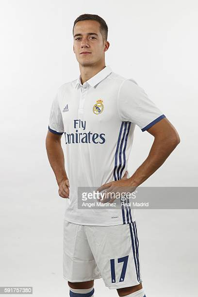 Lucas Vazquez of Real Madrid poses during a portrait session at Valdebebas training ground on August 18 2016 in Madrid Spain