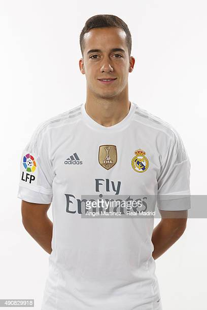 Lucas Vazquez of Real Madrid poses during the official portrait photocall at Valdebebas training ground on September 28 2015 in Madrid Spain