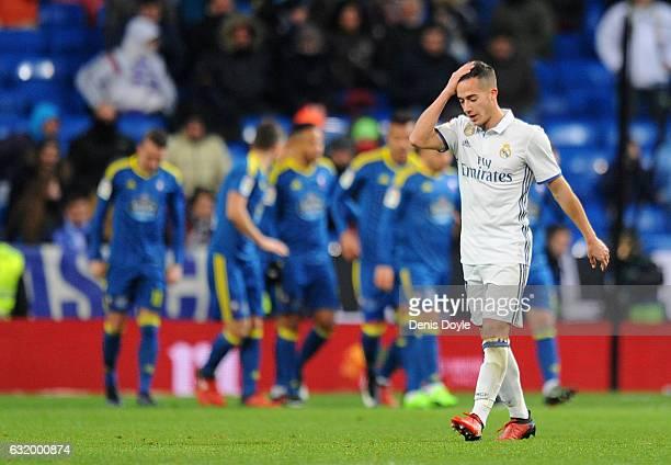 Lucas Vazquez of Real Madrid reacts after Celta de Vigo scored their 2nd goal during the Copa del Rey Quarter Final First Leg match between Real...