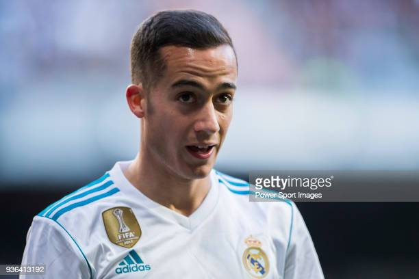 Lucas Vazquez of Real Madrid reacts during the La Liga 201718 match between Real Madrid and Deportivo Alaves at Santiago Bernabeu Stadium on February...