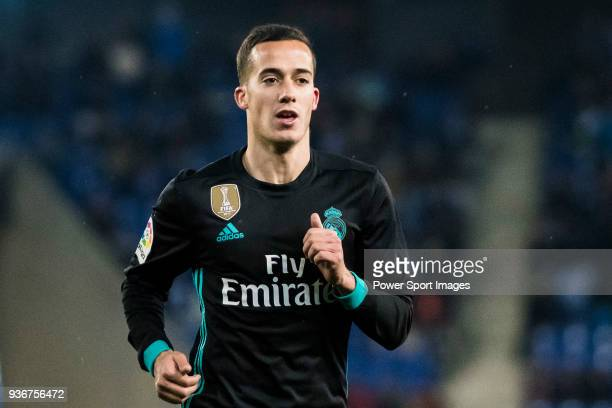 Lucas Vazquez of Real Madrid reacts during the La Liga 201718 match between RCD Espanyol and Real Madrid at RCDE Stadium on 27 February 2018 in...