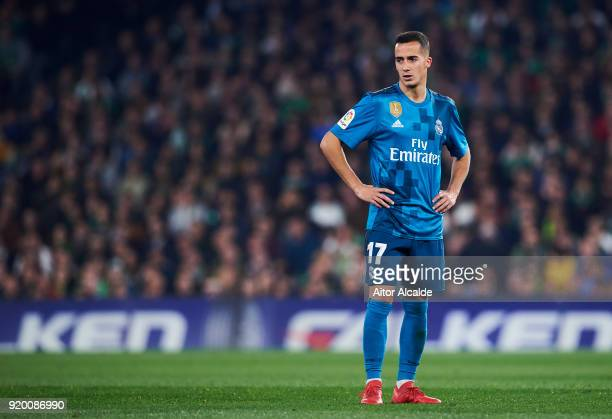 Lucas Vazquez of Real Madrid reacts during the La Liga match between Real Betis and Real Madrid at Benito Villamrin stadium on February 18 2018 in...