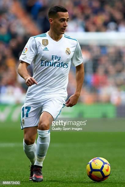 Lucas Vazquez of Real Madrid runs with the ball during the La Liga match between Real Madrid and Sevilla at Estadio Santiago Bernabeu on December 9...