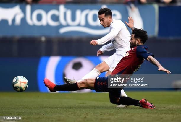 Lucas Vazquez of Real Madrid scores his team's third goal during the La Liga match between CA Osasuna and Real Madrid CF at El Sadar Stadium on...