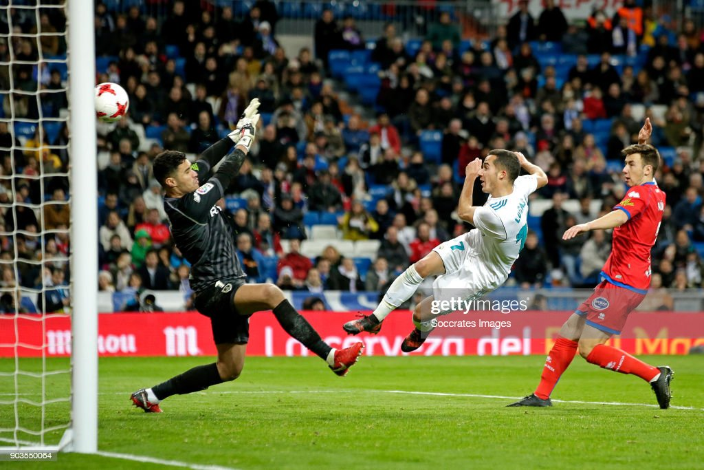 Lucas Vazquez of Real Madrid scores the third goal to make it 2-1 during the Spanish Copa del Rey match between Real Madrid v Numancia on January 10, 2018