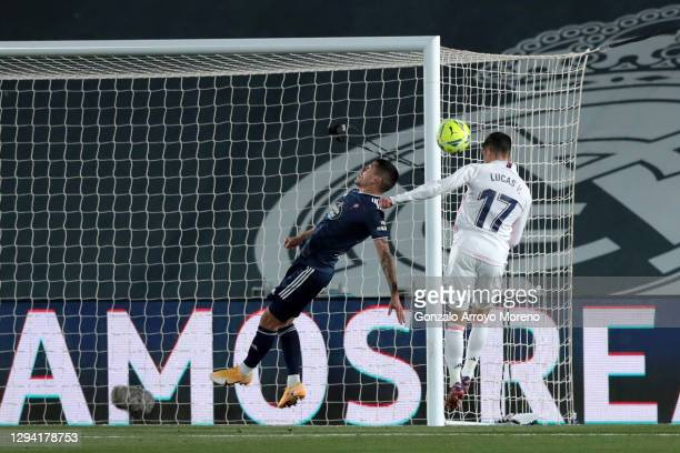 Lucas Vazquez of Real Madrid scores their team's first goal during the La Liga Santander match between Real Madrid and RC Celta at Estadio Santiago...