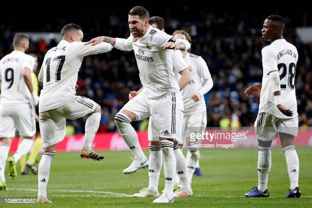 Lucas Vazquez of Real Madrid Sergio Ramos of Real Madrid celebrate goal during the Spanish Copa del Rey match between Real Madrid v Girona at the...