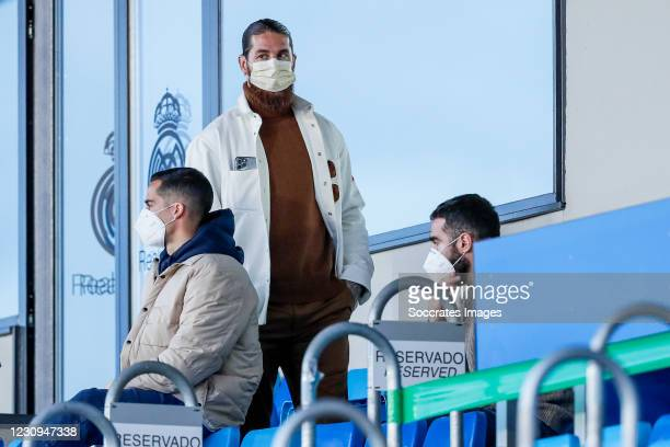 Lucas Vazquez of Real Madrid, Sergio Ramos of Real Madrid during the La Liga Santander match between Real Madrid v Levante at the Santiago Bernabeu...