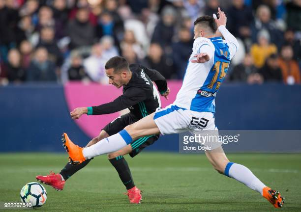 Lucas Vazquez of Real Madrid shoots past Diego Rico of CD Leganes to score his team's first goal during the La Liga match between Leganes and Real...