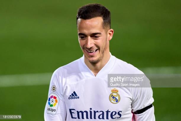 Lucas Vazquez of Real Madrid smiles during the La Liga Santander match between Real Madrid and FC Barcelona at Estadio Alfredo Di Stefano on April...