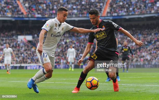 Lucas Vazquez of Real Madrid takes on Diego Antonio Reyes of RCD Espanyol during the La Liga match between Real Madrid CF and RCD Espanyol at the...