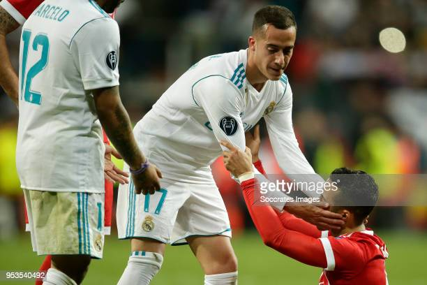 Lucas Vazquez of Real Madrid Thiago Alcantara of Bayern Munchen during the UEFA Champions League match between Real Madrid v Bayern Munchen at the...