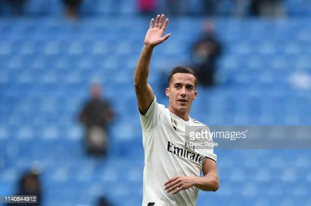 Lucas Vazquez of Real Madrid waves at the end of the La Liga match between Real Madrid CF and SD Eibar at Estadio Santiago Bernabeu on April 06 2019...