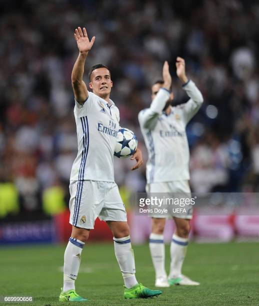 Lucas Vazquez of Real Madridof Real Madrid CF celebrates with teammates after Real beat FC Bayern Muenchen 42 in the UEFA Champions League Quarter...