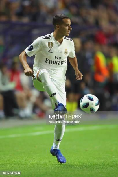 Lucas Vazquez of Real runs with the ball during the UEFA Super Cup between Real Madrid and Atletico Madrid at Lillekula Stadium on August 15 2018 in...