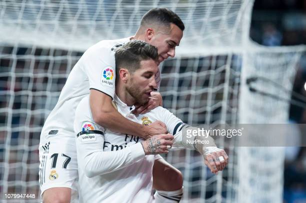 Lucas Vazquez Sergio Ramos of Real Madrid celebrating a goal during King's Cup 20182019 match between Real Madrid and CD Leganes at Santiago Bernabeu...