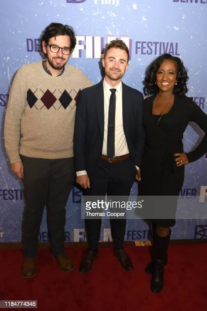 Lucas Verga Austin Kennedy and Melissa Haizlip members of the Maysles Brothers jury on the red carpet during the 42nd Annual Denver Film Festival on...