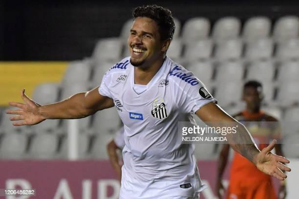 Lucas Verissimo of Brazil's Santos celebrates his goal against Ecuador's Delfin during their Copa Libertadores football match at Vila Belmiro...