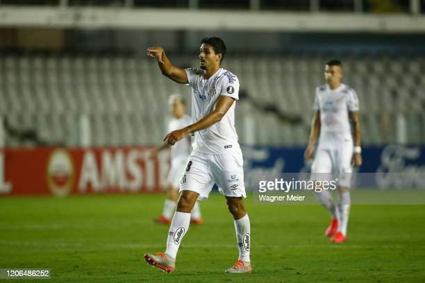 Lucas Verissimo of Santos celebrates after scoring the first goal of his team during a Group G match between Santos and Delfin as part of Copa...