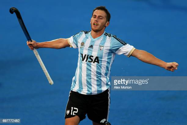 Lucas Vila of Argentina celebrates after scoring his team's third goal during the Pool A match between Argentina and China on day five of Hero Hockey...