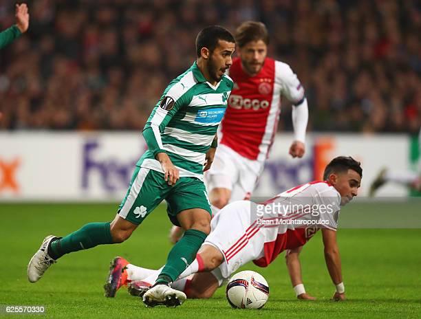 Lucas Villafanez of Panathinaikos evades Abdelhak Nouri of Ajax during the UEFA Europa League Group G match between AFC Ajax and Panathinaikos FC at...