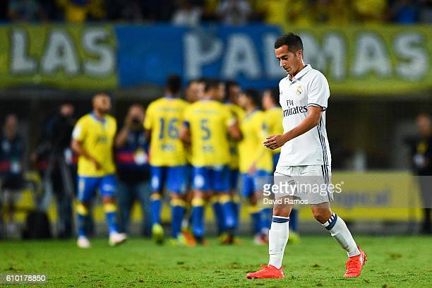 Lucas Vzaquez of Real Madrid CF reacts dejected after Sergio Araujo of UD Las Palmas scored his team's second goal during the La Liga match between...