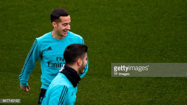 Lucas Vázquez of Real Madrid and Marco Asensio of Real Madrid looks on during a training session at Valdebebas training ground on April 7 2018 in...