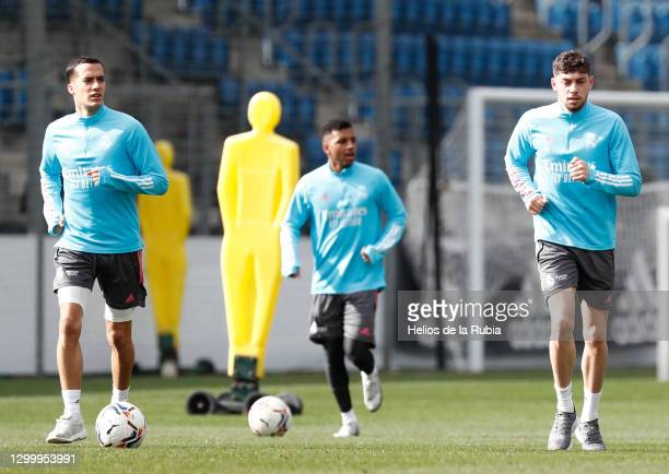 Lucas Vázquez, Rodrygo Goes and Federico Valverde at Valdebebas training ground for a Real Madrid training session on February 02, 2021 in Madrid,...