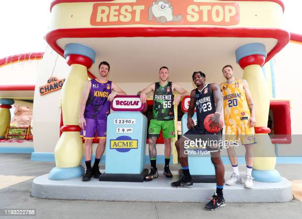 Lucas Walker of the Kings Mitch Creek of the Phoenix Casey Prather of Melbourne United and Nathan Sobey of the Bullets pose during the NBL Looney...