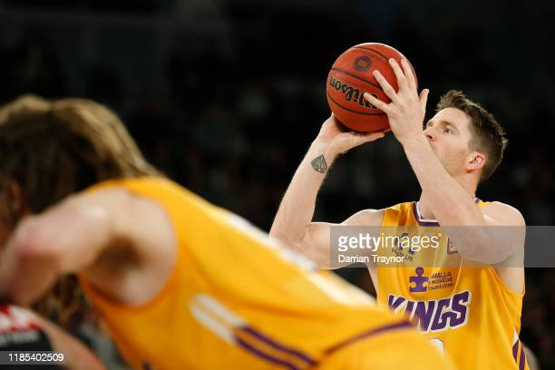 Lucas Walker of the Kings takes a free throw during the round five NBL match between Melbourne United and the Sydney Kings at Melbourne Arena on...