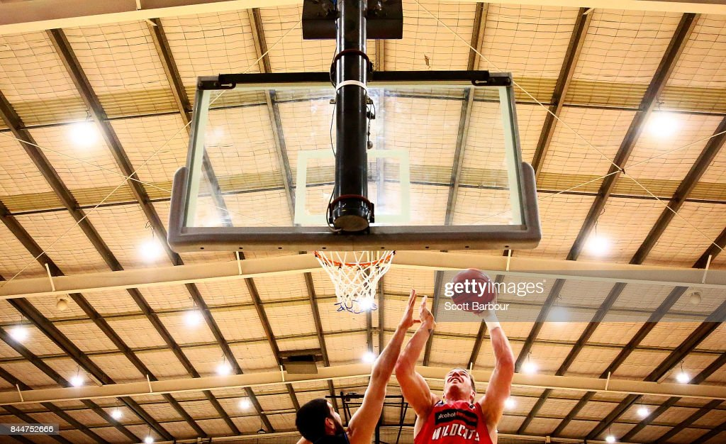 Lucas Walker of the Perth Wildcats controls the ball during the 2017 NBL Blitz pre-season match between the Perth Wildcats and the New Zealand Breakers at Traralgon Basketball Centre on September 9, 2017 in Traralgon, Australia.
