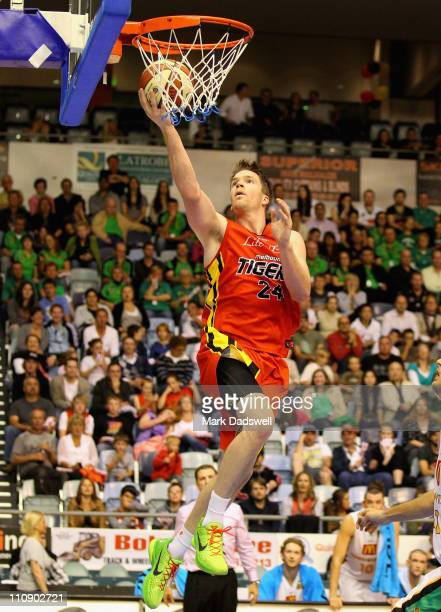 Lucas Walker of the Tigers goes to the basket during the round 24 NBL match between the Melbourne Tigers and the Townsville Crocodiles at State...