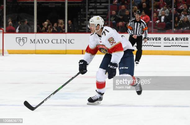 Lucas Wallmark of the Florida Panthers skates up ice against the Arizona Coyotes at Gila River Arena on February 25 2020 in Glendale Arizona